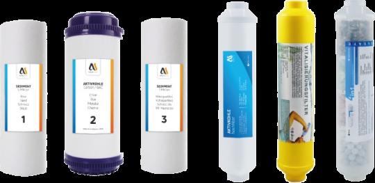 AQUASAFE Ersatzfilter Set für AS5000 mit Aktivkohle, Vital-Filter und Aktiv-Filter (Energetisierung)