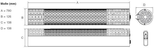 Infrarot Heizstrahler CasaTherm R2000 LowGlare IP55 mit und ohne Fernbedienung